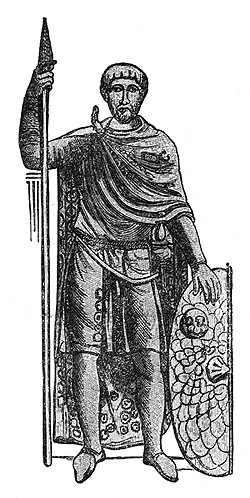 Római hadvezér (korabeli dombormű alapján készült rajz)