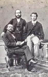 Orbán Balázs - a kép bal oldalán ül - két barátjával (1858 körül) - Molnár Attila Gyűjteményéből