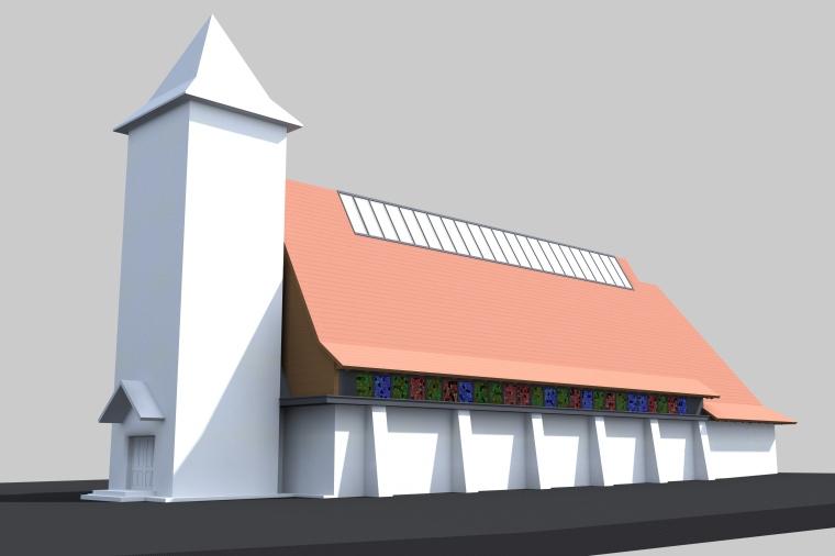 A torony marad, a templombelső azonban 100 négyzetméterrel nagyobb lesz (A tervet a csíkszeredai Atelier2 Épitésziroda készítette)