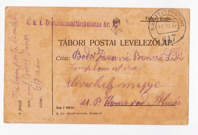 Első világnáborús tábori levelezelőlap