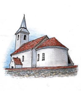 Gyöngyössy János rajza az atyhai templomról (2014)