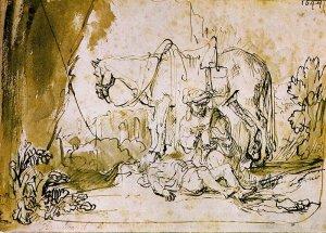 Rembrandt: Az irgalmas szamaritánus ellátja a sebesültet (1644)