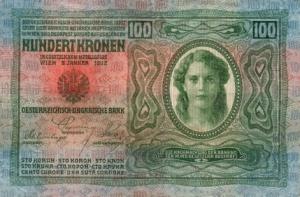 Egy 100 koronás bankjegy 1912-ből - igyekeztek az ország minden jelentős tömegek által használt nyelvén feltüntetni a bankjegyek értékét (számmal és betűkkel)