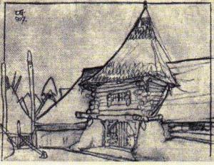 Az atyhai népház - vázlat, 1907, nem készült el