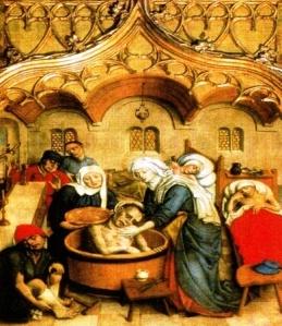 Szent Erzsébet betegeket gondoz - részlet a kassai dóm főoltárképéről
