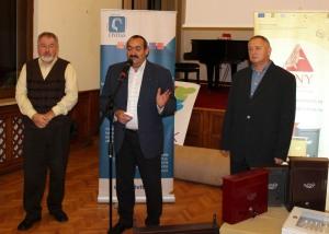 Kolumbán Gábor, Orbán Árpád és Forró László a vasárnap esti fogadáson