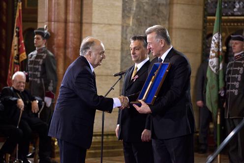 A Kossuth-díj átvételekor az Országházban