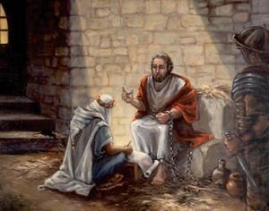 Pál apostol a börtönben. (Reprodukció Karen Anne Greaser festménye alapján.)