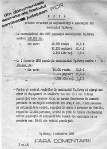 Titkosított pártdokumentum 1985-ből, amely előirányozza a város etnikai összetételének tervszerű megváltoztatását (Forrás: Wkipédia)