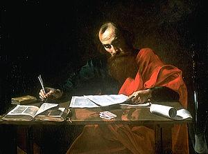 PÁl apostol levelet ír (Reprodukció Valentin de Boulogne festménye alapján)