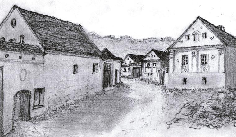 Utcakép Homoródkeményfalván (Udvarhelyszék) - Gyöngyössy János rajta, 2014