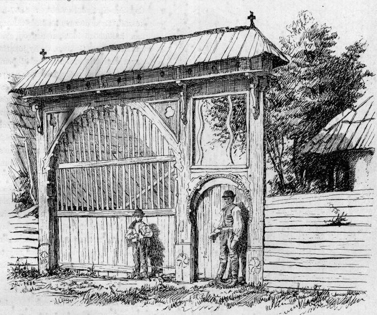 Nagykapu Csíkszentimrén, 1833 - Huszka József rajza