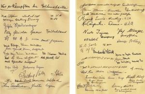 Az aláírásokat tartalmazó oldalpár (Fotók: Balázs Árpád gyűjteményéből)