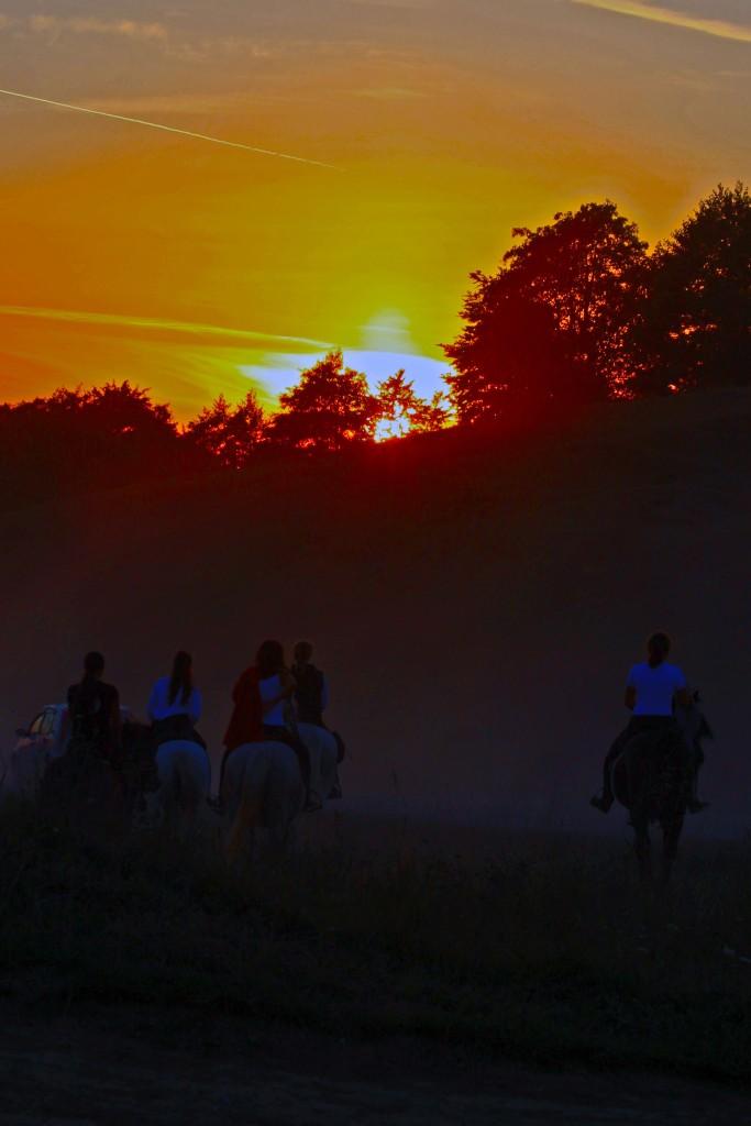 Lovas lányok naplementében (Fotó: Fischer István Alfréd)