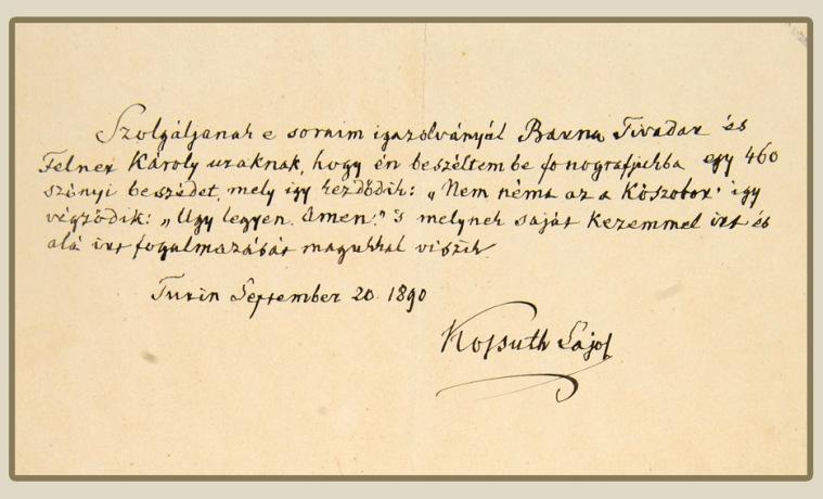 Kossuth kézírása