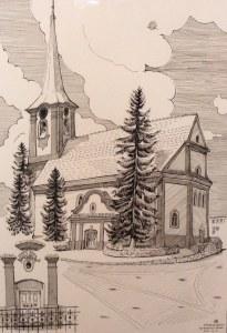 Belvárosi református templom - Kelemen Albert rajza