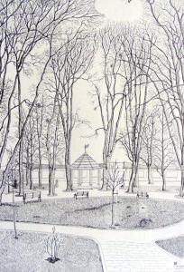 Sétatér - Kelemen Albert rajza
