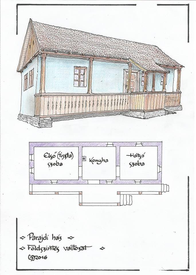 Gyöngyössy János rajza a parajdi házról - ez az egyszintes, de lesz részletesebb és merészebb változat is