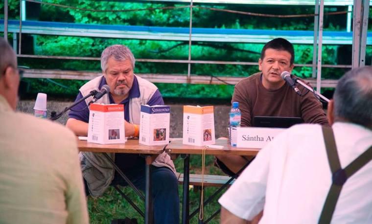 Molnár Vilmos író, a Székelyföld szerkesztője és Sántha Attila költő, nyelvész