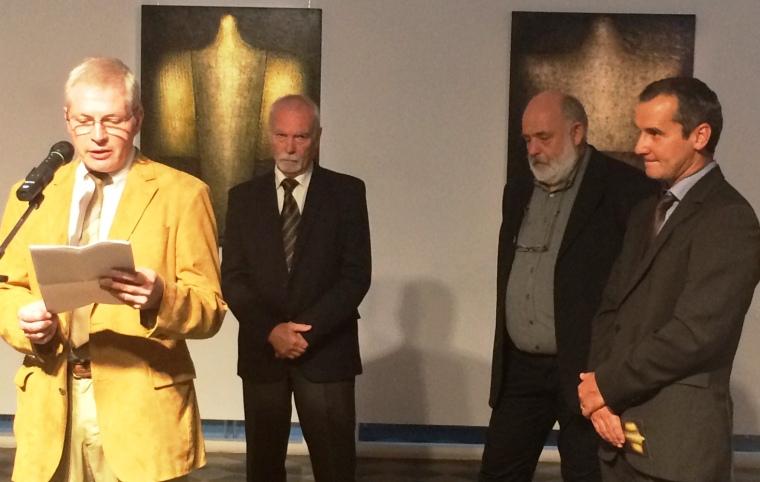 Szűcs György művészettörténész, Vinczeffy László, az ünnepelt, Vécsi Nagy Zoltán művészettörténész és Vargha Mihály múzeumigazgató